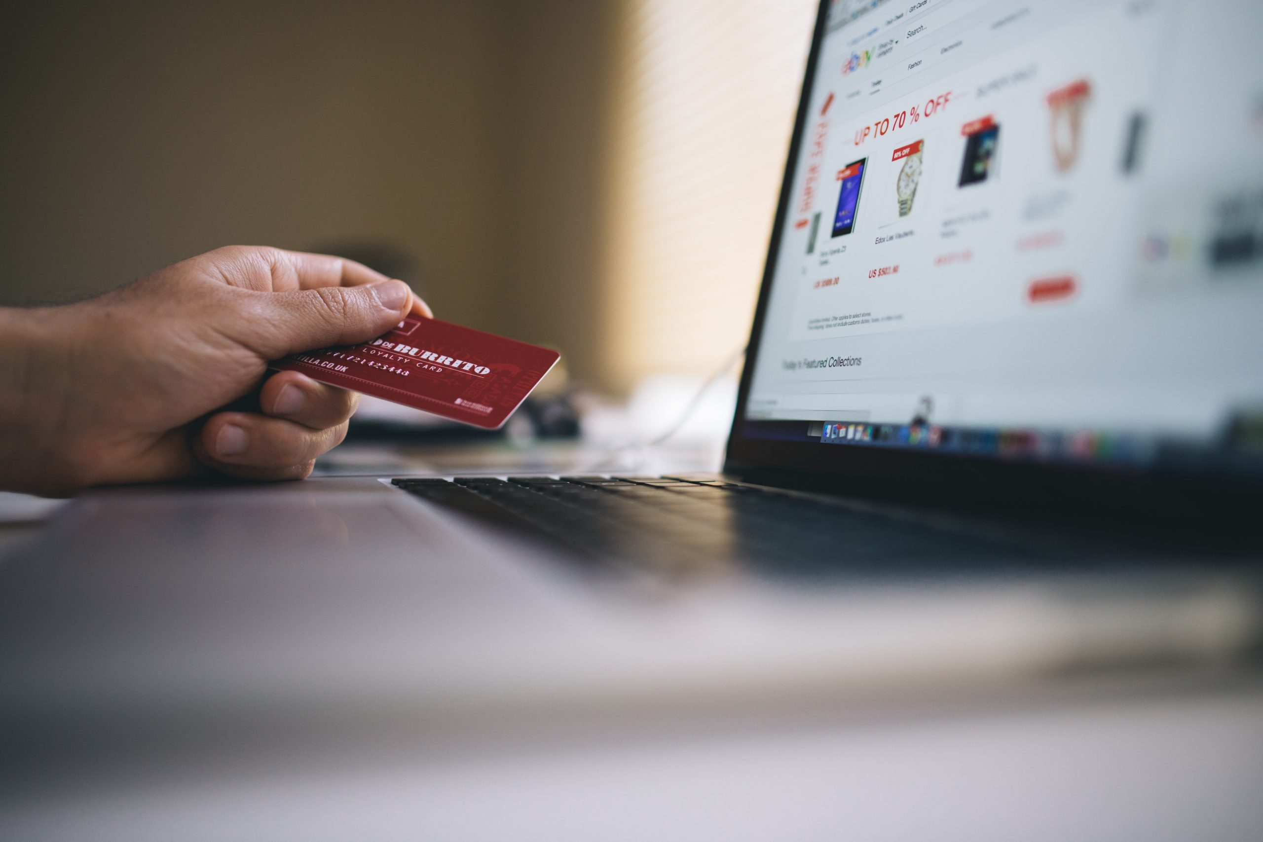 Person using credit card